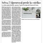 Corriere dell'Alto Adige 05 12 月 2014 Selva, l'Alpenroyal perde la « stella