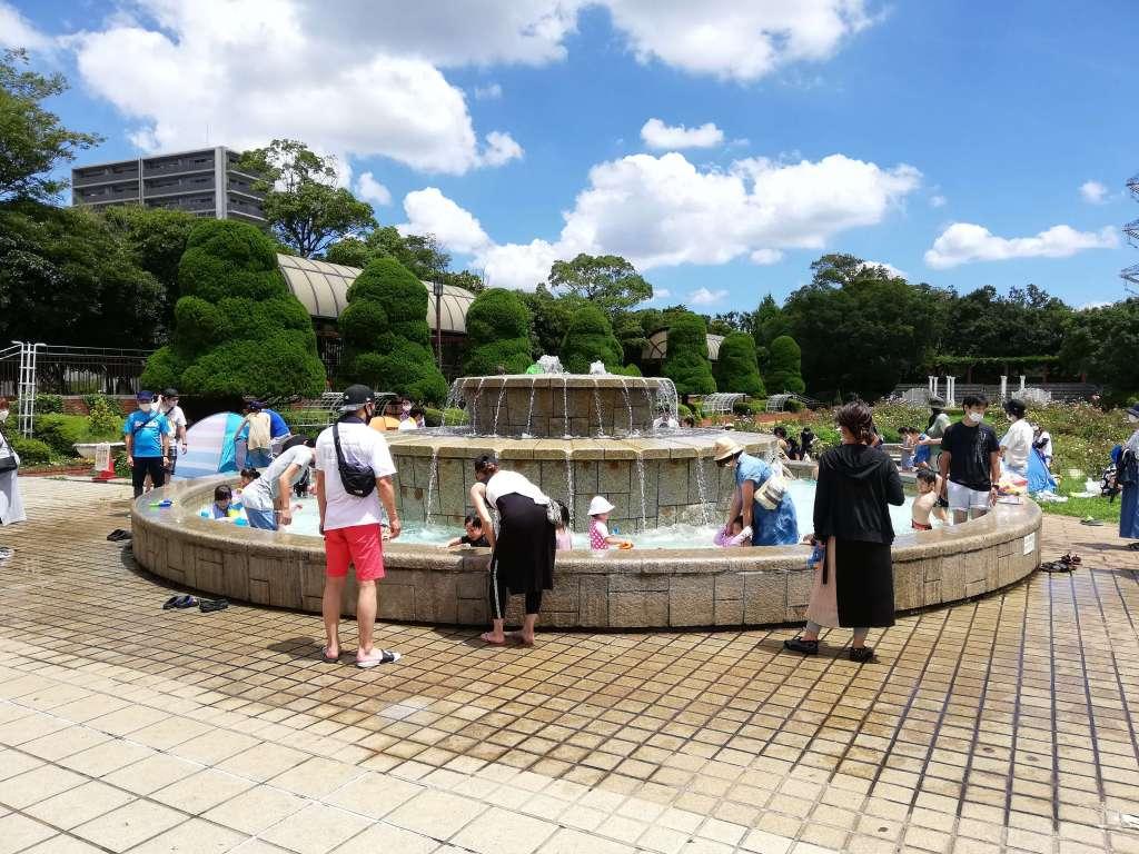 江戸川区のフラワーガーデンの噴水で水遊びをする子供たち