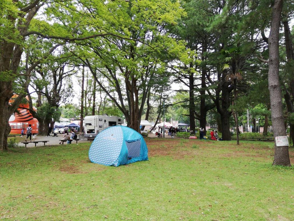 松戸中央公園の芝生に設置されたテント