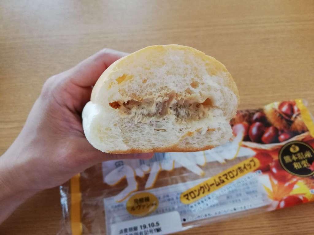 ヤマザキコッペパン「マロンクリーム&マロンホイップ」断面