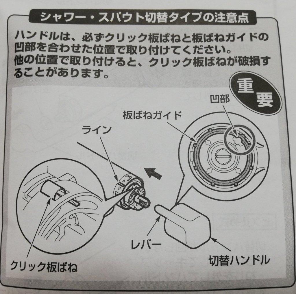 TMHG40の切り替えハンドルを付ける際の注意点