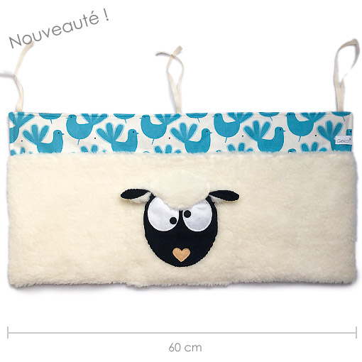 rangement mural 3 poches mouton oiseaux made in france gekati