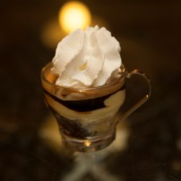 Affogato al caffè – (espresso, coffee gelato, and whipped cream)