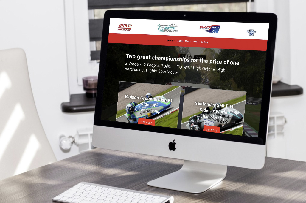 RKB F1 Sidecars website screenshot displayed on an imac