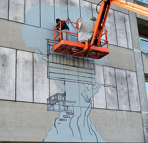 Graffiti på Gellerups grimmeste facade
