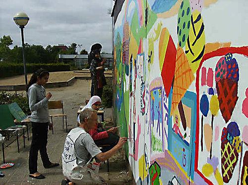 Vægmaleri på Gellerup Højskole