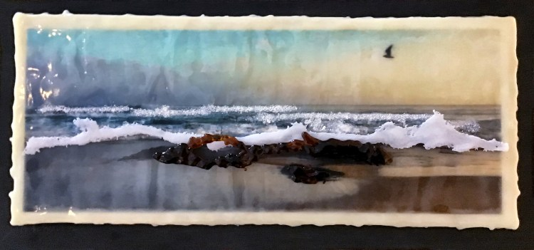 At the Beach - Photo Encaustic & Mixed Media