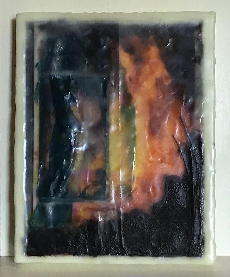 Fire Dweller - Photo Encaustic and Pastel