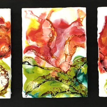 Flowers - Encaustic painting with shellac burn