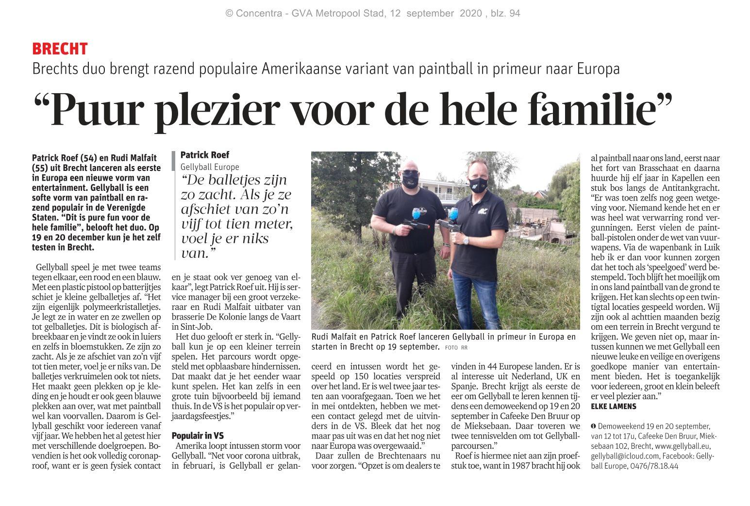 Gazet Van Antwerpen artikel Gellyball Brecht
