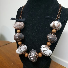 Fabric Bead Necklace by Karen Ellis