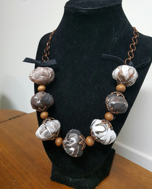 Gel Press Fabric Necklace