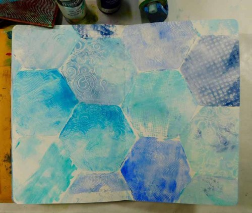 Gel Press stamping with Petite hexagon by Kathy Adams