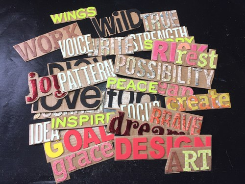 Gel Press word stamps by Jen Kitchen