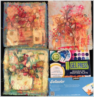 Monoprinting Fabric with Gel Press by Karla Leopold