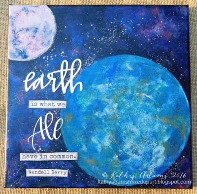 "Earth Day Canvas made using 8"" and 4"" Round Gel Press Plates"