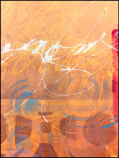 Printing with Asemic Writing with Gel Press by Working Artist Jacqueline Sullivan