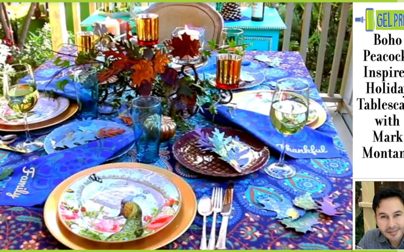 Gel Press Boho Peacock-Inspired Tablescape by Mark Montano