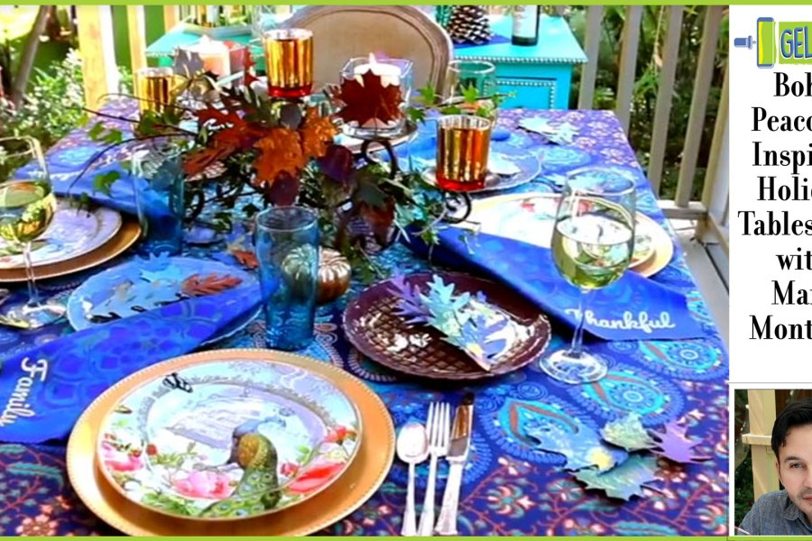 Gel Press Boho Peacock Inspired Tablescape by Mark Montano
