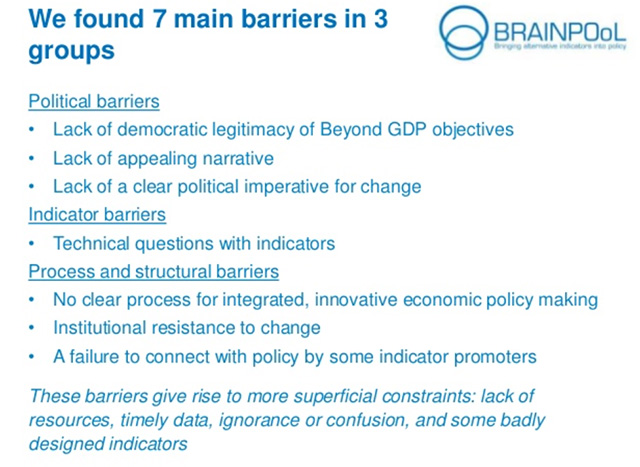 Barriers-to-move-beyond-GDP according to project BRAINPOoL