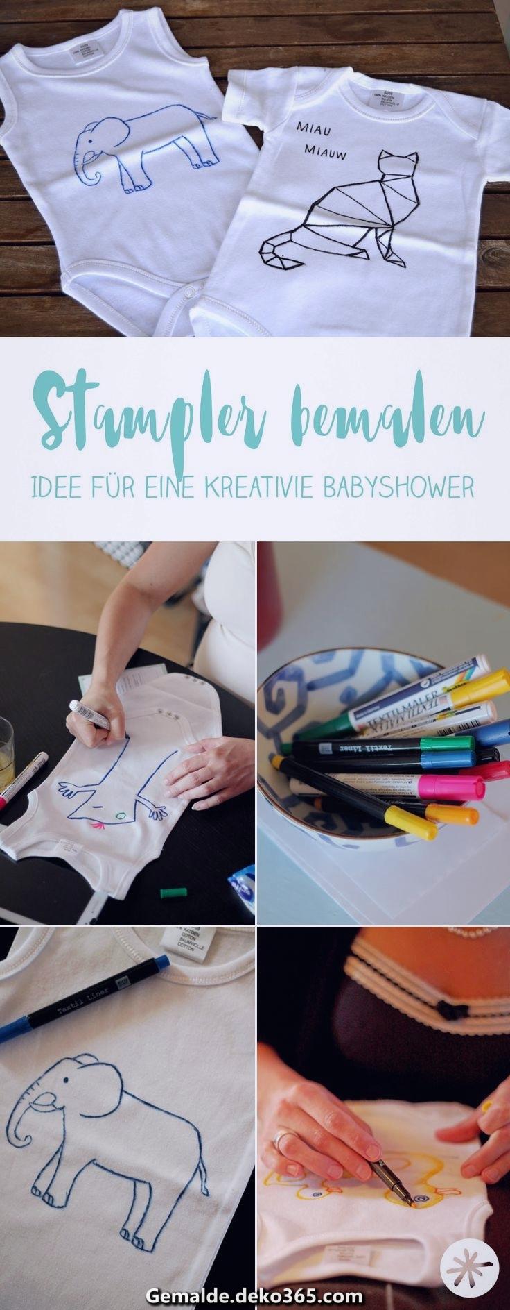 Babyshower DIY Strampler bemalen — Bilder