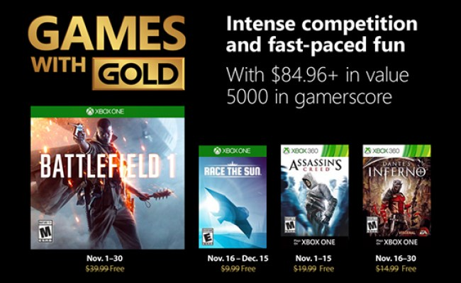 Xbox Live Gold Free Games For November 2018 Announced