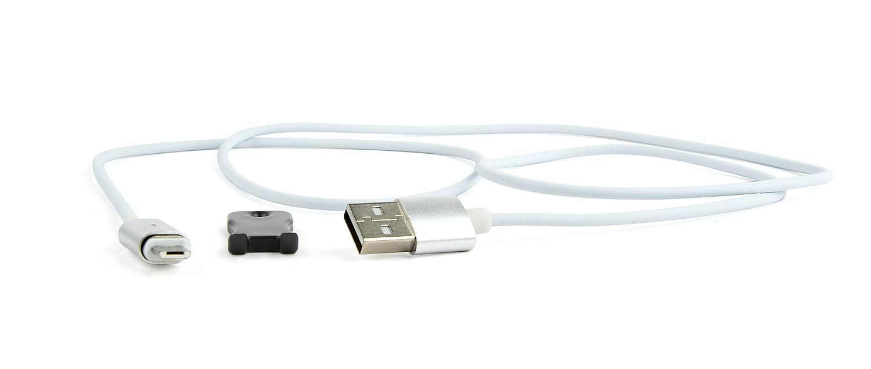 Magnetic Micro USB cable, silver, 1 m (CC-USB2-AMmUMM-1M)