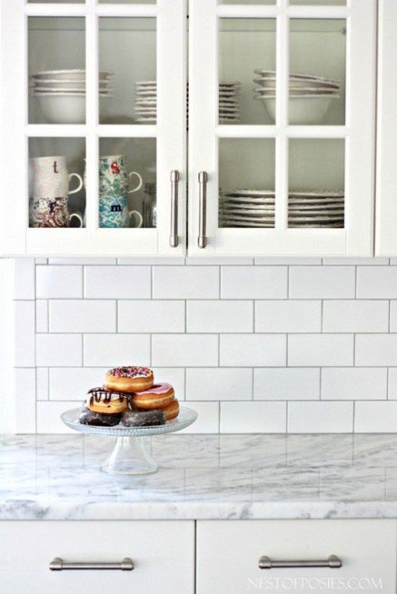 subway tile backsplash gem cabinets