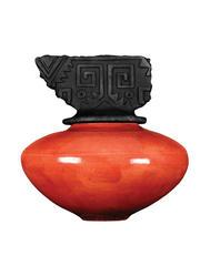 R 20 Red Crackle Raku Pot - R-20 Red Crackle