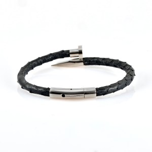 Black Python Leather Silver Nail Bracelet With Silver Finishing