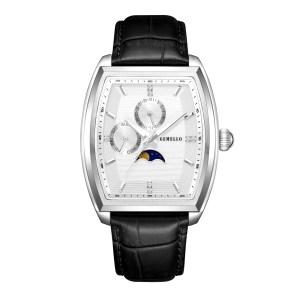 Lunar Quartz Silver – Black Leather
