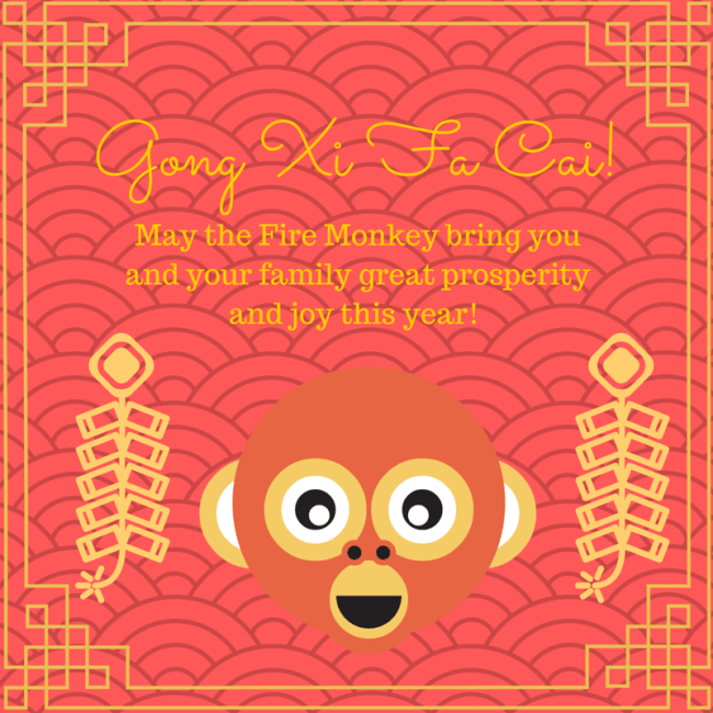 Chinese New Year greeting card with monkey face
