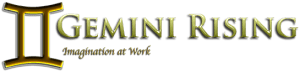 image of Gemini Rising Banner and Logo is associated with the Homepage, About Us, Products, Gallery, Theater, Books, Contact Us and News pages