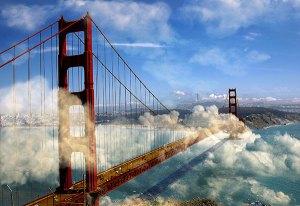 Image of Light Painting Golden Gate Bridge