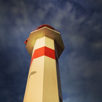 lighthouse with red stripe