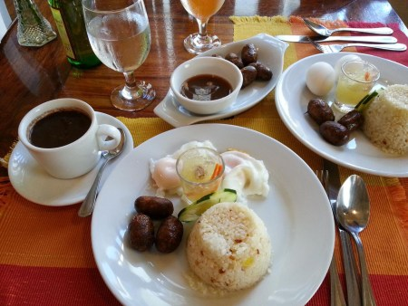 typical Filipino breakfast at Bistro Amarillo in Vigan
