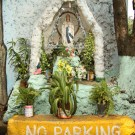 No Parking sign in front of a street Virgin Mary grotto, August 2009