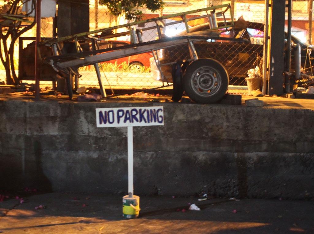 no parking sign at night