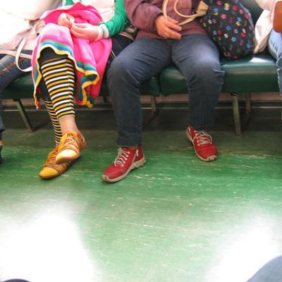 colorful girl on the train
