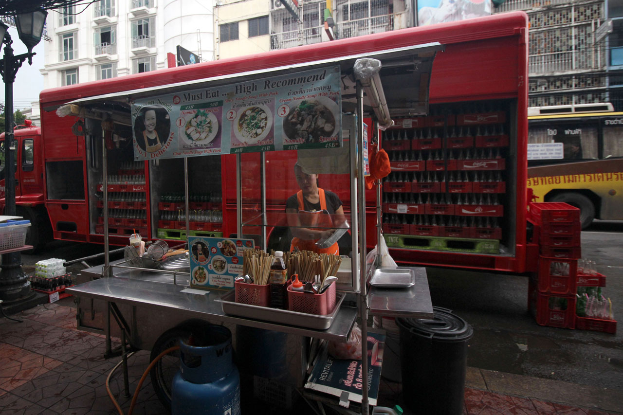 food stall in front of Coke truck, Khao San Road