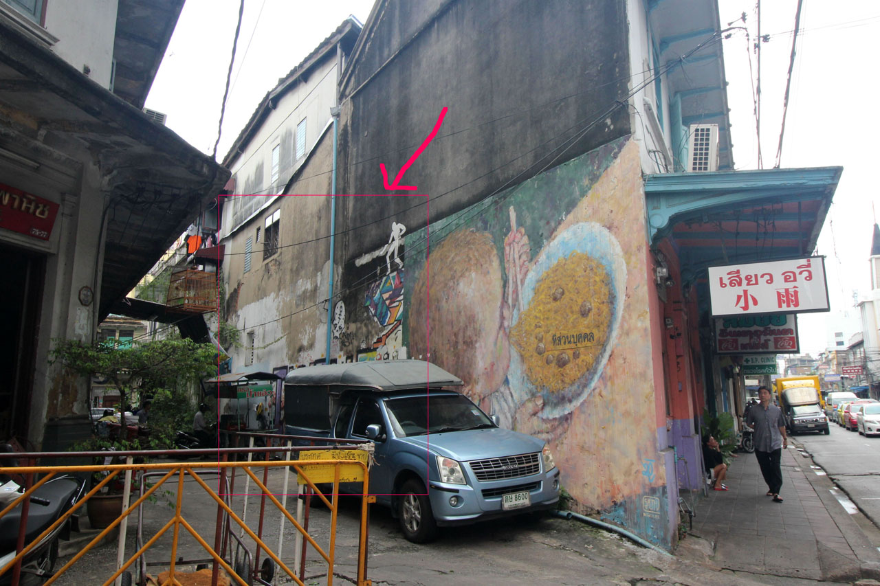 5-Day 2- Bangkok Chinatown- narrow alley graffiti 6-2