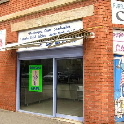 purple cactus cafe brick building