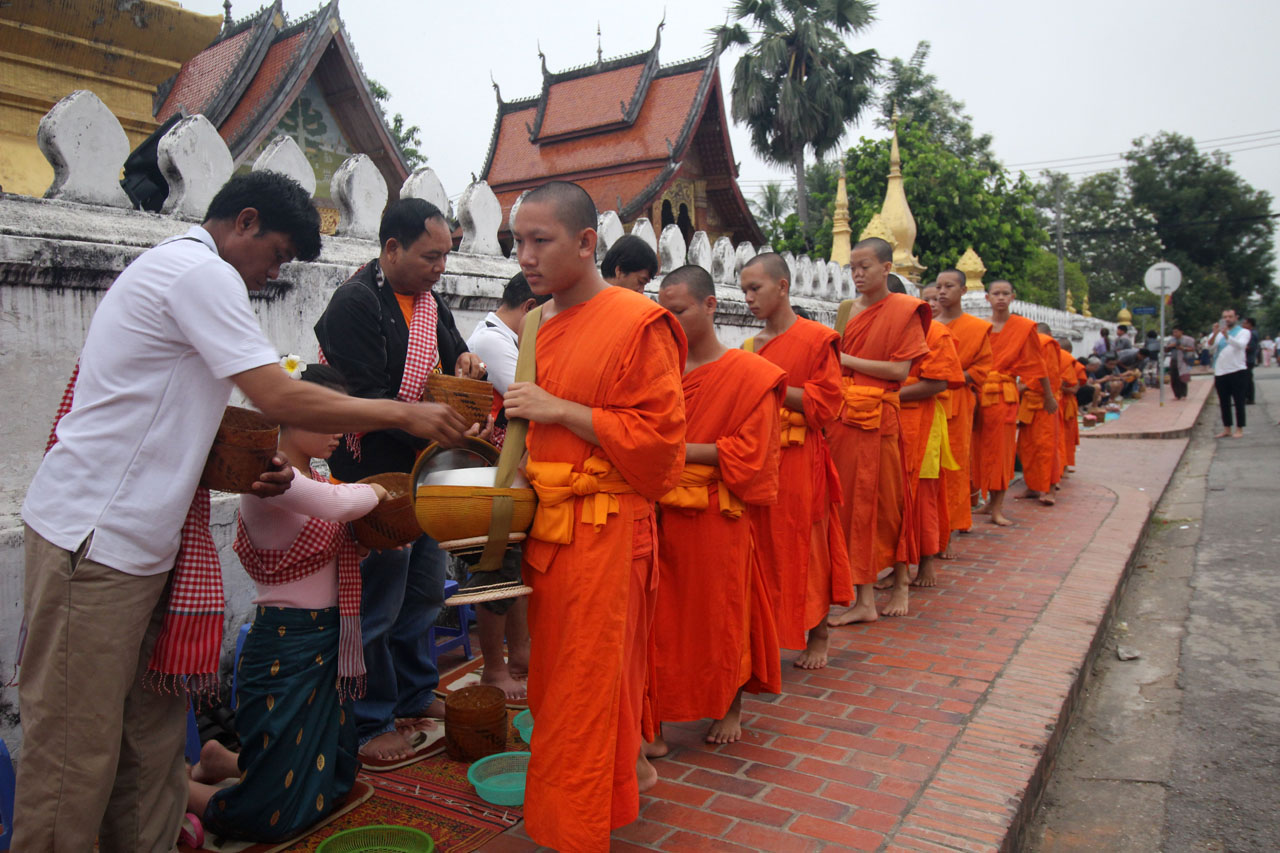 Early Morning Alms Giving Ceremony
