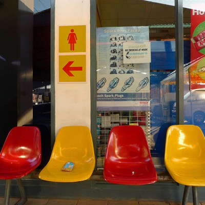gas station plastic chairs