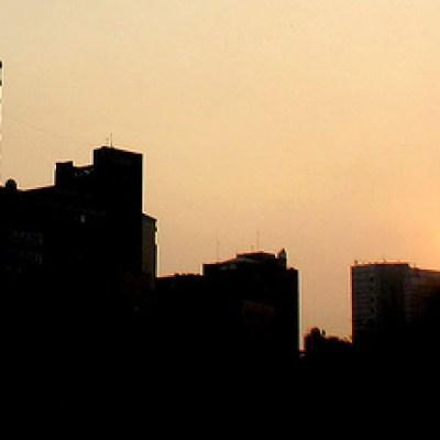 buildings at dusk