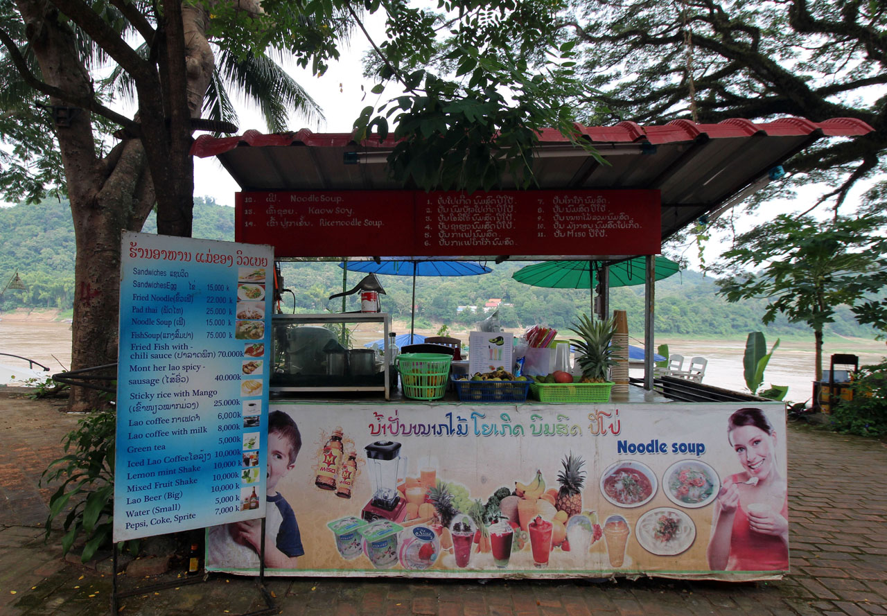 fruit shake stand by the Mekong River