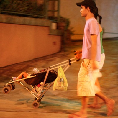 family with stroller