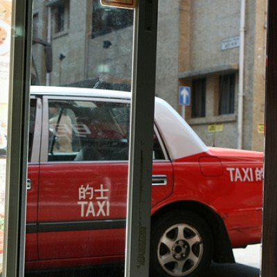 red taxi cab