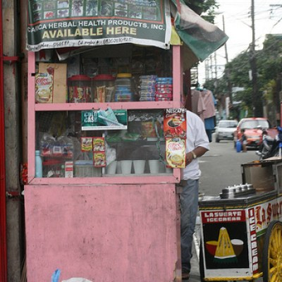 pink stall and ice cream cart