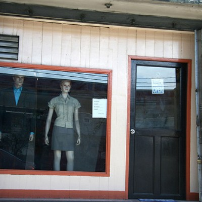 street shop window with mannequins